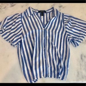 F21 Blue and White Striped Button up Top